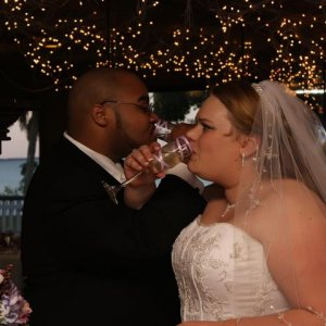 Drinkie Drinkie!  (My husband's best man actually made those wine glasses)