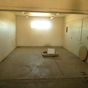 Painting room with large exhaust fan