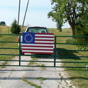 Flag day  My front gate I put this up today June 14,12