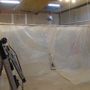 Sand blast tent set up in shop