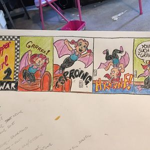 What Sean draws in their shop to goof off instead of working on their plane or hotrods ...