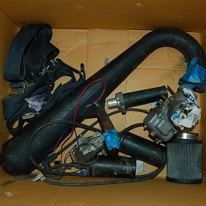 Exhaust, mikuki carb, coil packs, air filter, fuel pump, seat belts, motorcycle type throttle handle