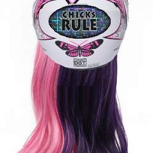 60cm Long Pink and Purple Split Wave Cosplay Wig with Pink White Butterfly Flip Up Modular Full