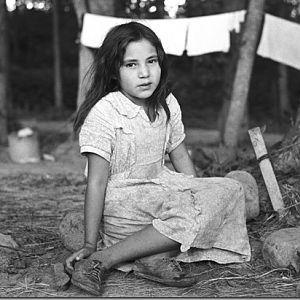 Indian girl daughter of blueberry picker near Little Fork Minnesota