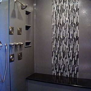 Onyx shower with tile inlay