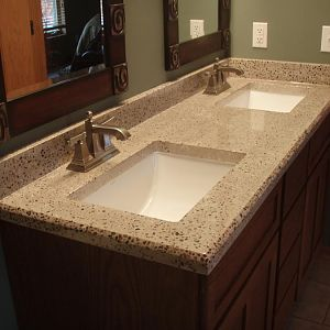 double square bowl concrete vanity