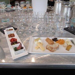 CUVEE wine tasting setup with food